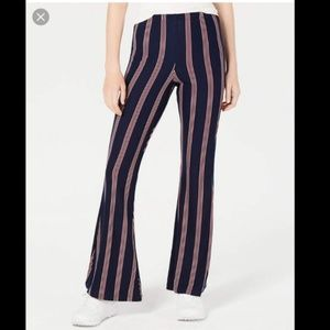 PLANET GOLD BLUE RED STRIPED MID RISE FLARE PANTS